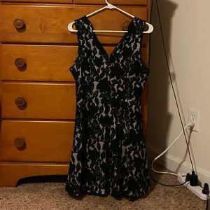 Black and cream lace formal dress